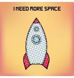 retro rocket poster Halftone stylized vector image
