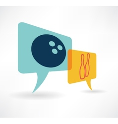 speech bubble icon with bowling items in vector image vector image