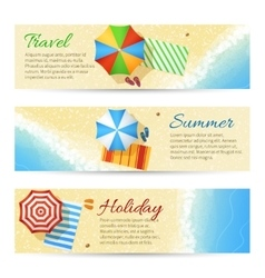 Summer travel banners with sea beach vector image vector image