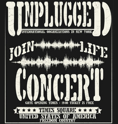vintage concert typographic for t-shirt tee vector image vector image
