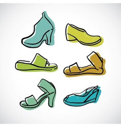 Womans shoes sketch vector image