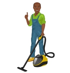 African american man posing with vacuum cleaner vector image vector image