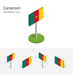 Cameroon flag set of 3d isometric flat icons vector