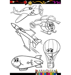 cartoon aircraft set for coloring book vector image