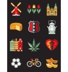 Netherlands Travel Symbols vector image