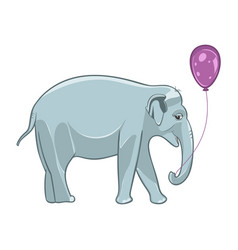 smiling baby elephant with purple balloon vector image vector image