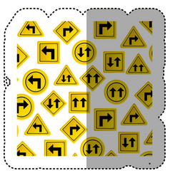 sticker pattern road traffic sign with arrows set vector image