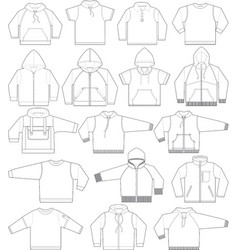 sweatshirt hoodie and fleece in black and white vector image vector image
