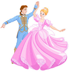 The ball dance of cinderella and prince vector