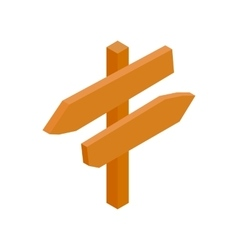Wooden direction arrow sign isometric 3d icon vector image vector image