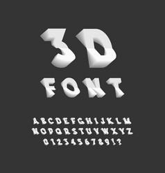 3d font plastic sans serif typeface vector image vector image