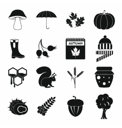 Autumn icons set simple style vector image vector image