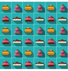 Birthday Cake Flat Icon Seamless Pattern vector image