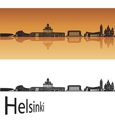 Helsinki skyline in orange background vector image