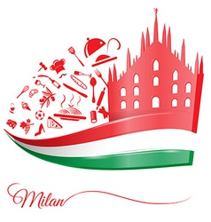 milan cathedral with food element vector image vector image