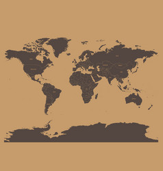 political map of world in chocolatte brown colors vector image vector image
