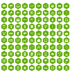 100 communication icons hexagon green vector