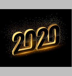 3d black and gold happy new year 2020 background vector image