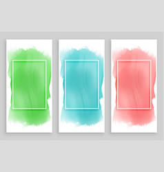 Abstract watercolor frame banners set vector