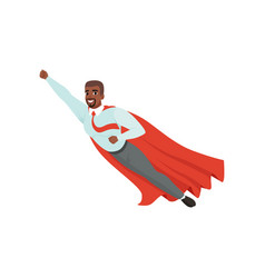 Afro-american man with superhero cloak flying with vector