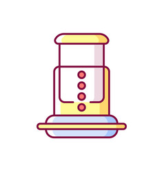 Air pressure coffee plunger rgb color icon vector