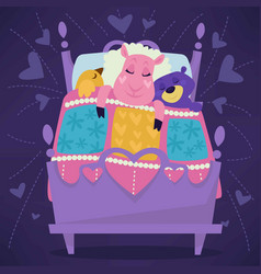 animals sleeping in bed fairytale pets asleep set vector image