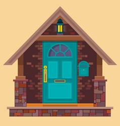 aquamarine front door on brown brick wall vector image