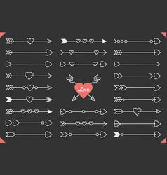 arrows with hearts vector image