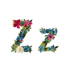 Beautiful floral alphabet with flowers vector