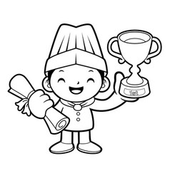 Black and white happy cook mascot first prize in vector