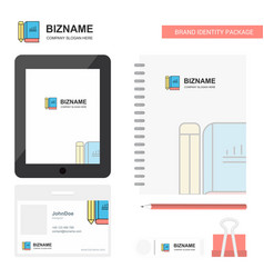 book and pencil business logo tab app diary pvc vector image