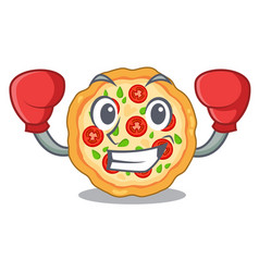 Boxing margherita pizza in a cartoon oven vector