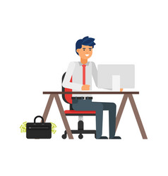 businessman at his workplace vector image