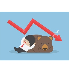 Businessman sleeping with bear with down trend gra vector