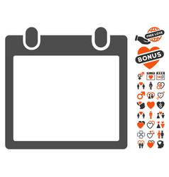 Calendar frame icon with valentine bonus vector