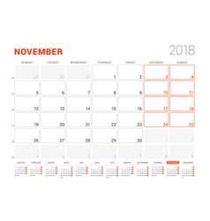 Calendar template for 2018 year november business vector
