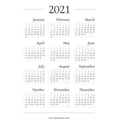 Classic gregorian calendar for 2021 year a4 page vector