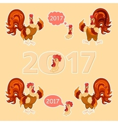 Cock big set Cartoon style Rooster set vector image