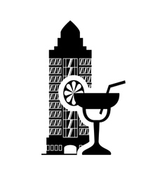 Cocktail hotel building silhouette design vector