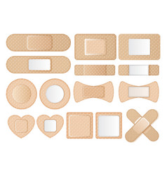 Collection different shaped band aids vector