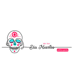 colorful skull with flowers banner vector image