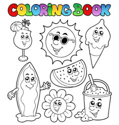 Coloring book with summer pictures vector