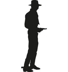Cowboy silhouette with gun western gunfighter vector