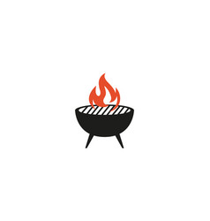 creative bbq hot girll fire logo design symbol vector image