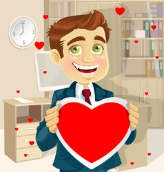 Cute businessman in office hold a valentine vector