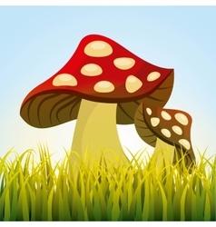Cute drawing fairy mushroom vector