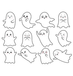 cute kawaii ghost spooky halloween ghosts vector image