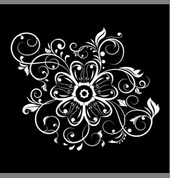 Decorative flower with filigree branches white vector