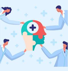 Doctors connect puzzle vector