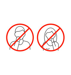 Dont touch your face line icons on white backgound vector